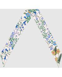 Gucci New Flora Print Silk Neck Bow - White