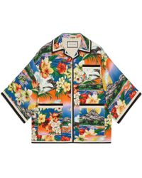 Gucci - Pocket Detail Exotic Print Jacket - Lyst