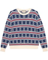 Gucci Cotton Knit With Anchors - Blue