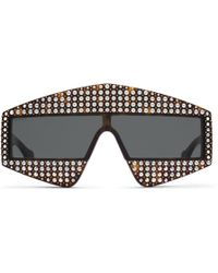 Gucci - Occhiali da sole rettangolari in acetato con cristalli - Lyst