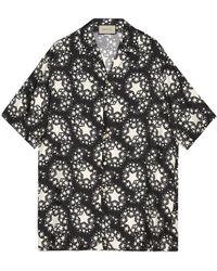 Gucci Star Print Silk Oversize Bowling Shirt - Black