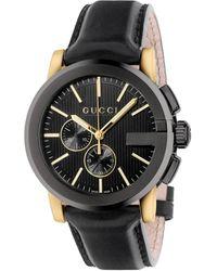 Gucci Men's G-chrono Chronograph Leather Strap Watch - Black