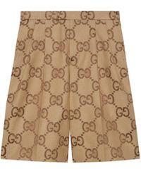 Gucci Shorts aus Canvas mit Jumbo GG - Natur