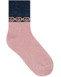 Gucci Socks With Interlocking G Chain - Blue
