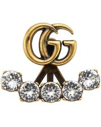 Gucci Single Crystal Double G Earring - Black