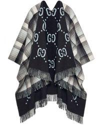 Gucci Reversible GG Wool Poncho - Grey
