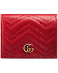 Gucci 【公式】 (グッチ)〔GGマーモント〕 カードケース(コイン&紙幣入れ付き)ハイビスカスレッド レザーレッド