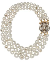 Gucci - Collar de perlas en capas con cierre de felino - Lyst