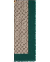 Gucci Étole en laine à imprimé bande Web et tigre - Vert