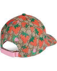 Gucci Casquette GG à imprimé Strawberry - Neutre