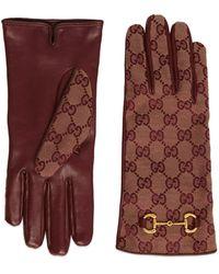 Gucci Gants en toile gg avec détail mors - Marron