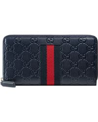 Gucci Signature Web Zip Around Wallet - Blue