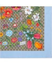Gucci - GG Halstuch aus Seide mit Flora-Print - Lyst