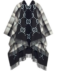 Gucci Poncho de lana con GG reversible - Gris