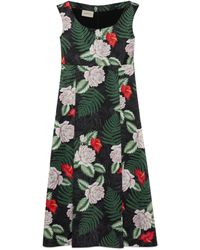 Gucci Hawaiian Print Silk Sleeveless Dress - Black