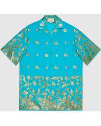 Gucci Übergroßes Lamé Fil Coupé Bowling Shirt - Blau