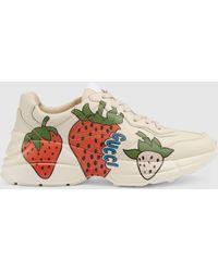 Gucci - Rhyton Sneaker With Strawberry - Lyst