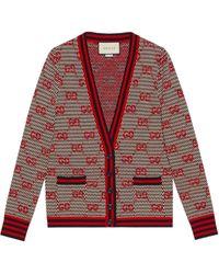 Gucci - Cardigan en laine jacquard GG - Lyst