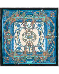 Gucci Halstuch aus Seide mit Quasten- und Ketten-Print - Blau