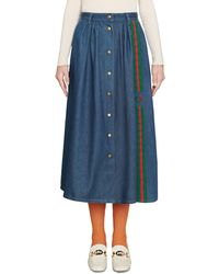 Gucci - Denim Skirt With Web And Interlocking G - Lyst
