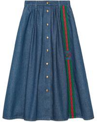 Gucci - Denim Skirt With Web And Interlocking G - Lyst