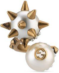 Gucci Bague avec deux perles de verre - Métallisé