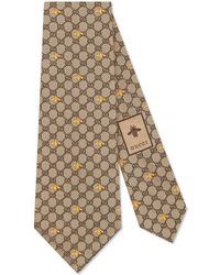 Gucci GG Bees Silk Tie - Natural