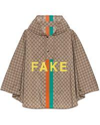 Gucci 'fake/not' Print GG Nylon Cape - Natural