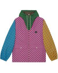 Gucci Chaqueta de lona con capucha GG Multicolor - Rosa
