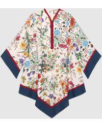 Gucci グッチフローラ プリント キモノスタイル ドレス - マルチカラー