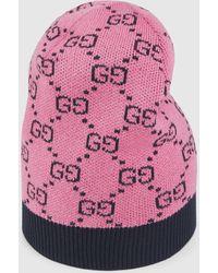 Gucci GG Multicolor Mütze aus Wolle und Baumwolle - Pink