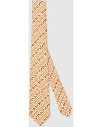 Gucci - 【公式】 (グッチ)フレイヤ・ハルタス プリント シルク ネクタイアイボリーホワイト - Lyst