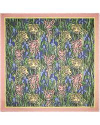 Gucci Silk Shawl With Feline Garden Print - Green