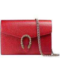 Gucci Sac super mini Dionysus en cuir - Rouge
