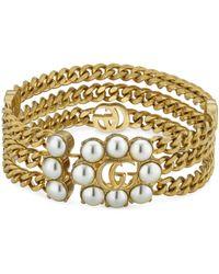 Gucci Bracelet à rangées de chaînes avec Double G et perles - Blanc