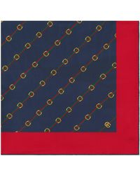 Gucci Scarf With Stirrups And Web Print - Blue
