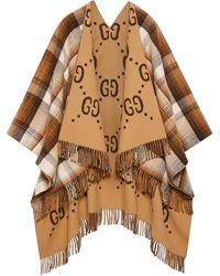 Gucci Wendbarer Poncho aus GG Wolle - Natur