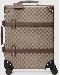 Gucci + Globe-trotter Koffer Aus Beschichtetem Canvas Mit Lederbesatz Und Print - Natur