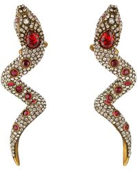 Gucci Snake Earrings With Crystals - White