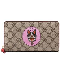 67d90a8ce0fb Gucci - GG Supreme Zip Around Wallet With Bosco Patch - Lyst