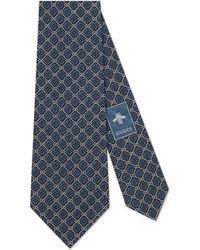 Gucci Corbata con motivo GG y rombos - Azul
