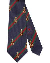 Gucci Web Crest Silk Tie - Blue
