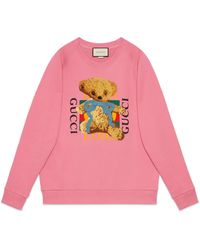 Gucci Oversize Sweatshirt With Logo And Teddy Bear - Pink