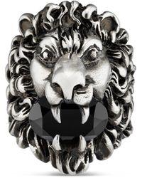 Gucci Anello testa di leone con cristallo - Multicolore