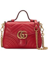 Gucci Minibolso de Mano GG Marmont - Rojo