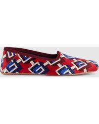 Gucci Damen Slipper mit geometrischem G Print - Rot