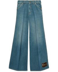 Gucci Stonewashed Denim Flare Pants - Blue