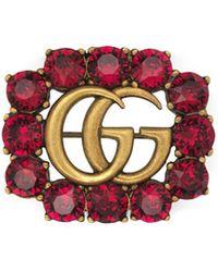 4dd219fe1b4 Gucci - Metal Double G Brooch With Crystals - Lyst
