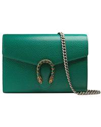 Gucci Dionysus Mini-Tasche aus Leder mit Kette - Grün