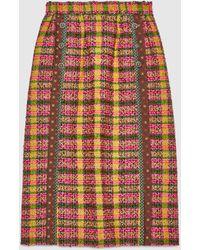 Gucci シルク トリム付き チェック ツイード スカート - ブラウン